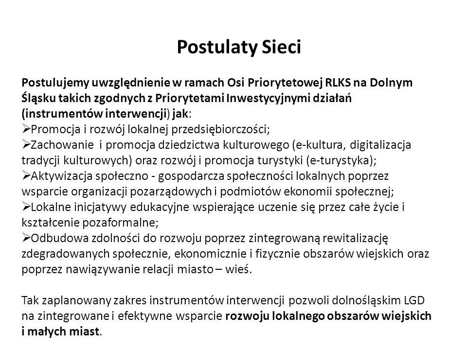 Wyzwania, cele i priorytety do ew. wsparcia przez EFRR, EFS Postulujemy uwzględnienie w ramach Osi Priorytetowej RLKS na Dolnym Śląsku takich zgodnych