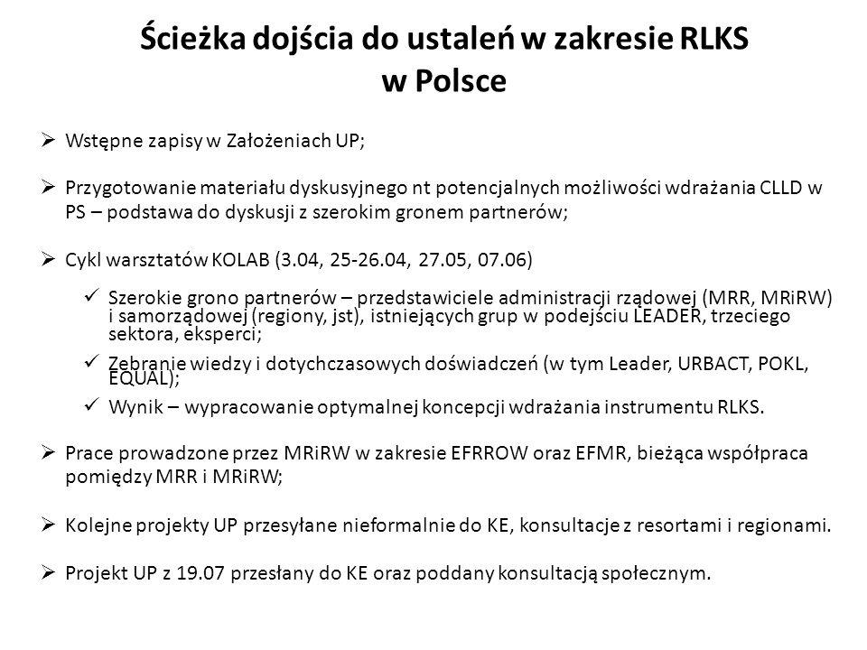 Ścieżka dojścia do ustaleń w zakresie RLKS w Polsce Wstępne zapisy w Założeniach UP; Przygotowanie materiału dyskusyjnego nt potencjalnych możliwości
