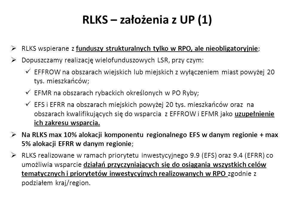 Typy terytoriów oraz fundusze EFSI RLKS wspierane z funduszy strukturalnych tylko w RPO, ale nieobligatoryjnie; Dopuszczamy realizację wielofunduszowy