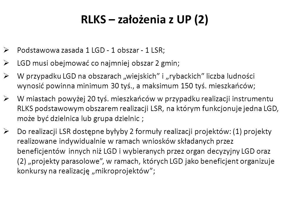 Mechanizmy koordynacyjne, ramy wdrażania RLKS Podstawowa zasada 1 LGD - 1 obszar - 1 LSR; LGD musi obejmować co najmniej obszar 2 gmin; W przypadku LG
