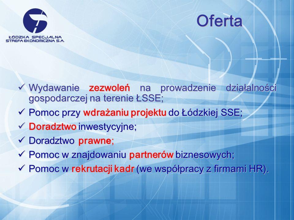 Wydawanie zezwoleń na prowadzenie działalności gospodarczej na terenie ŁSSE; Wydawanie zezwoleń na prowadzenie działalności gospodarczej na terenie ŁSSE; Pomoc przy wdrażaniu projektu do Łódzkiej SSE; Pomoc przy wdrażaniu projektu do Łódzkiej SSE; Doradztwo inwestycyjne; Doradztwo inwestycyjne; Doradztwo prawn e ; Doradztwo prawn e ; Pomoc w znajdowaniu partnerów biznesowych; Pomoc w znajdowaniu partnerów biznesowych; Pomoc w rekrutacji kadr (we współpracy z firmami HR).