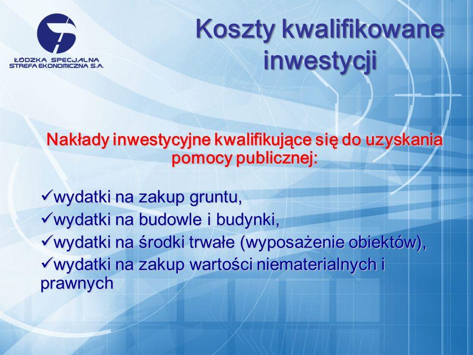 Nakłady inwestycyjne kwalifikujące się do uzyskania pomocy publicznej: w ydatki na zakup gruntu, w ydatki na zakup gruntu, w ydatki na budowle i budynki, w ydatki na budowle i budynki, w ydatki na środki trwałe (wyposażenie obiektów), w ydatki na środki trwałe (wyposażenie obiektów), w ydatki na zakup wartości niematerialnych i prawnych w ydatki na zakup wartości niematerialnych i prawnych Koszty kwalifikowane inwestycji