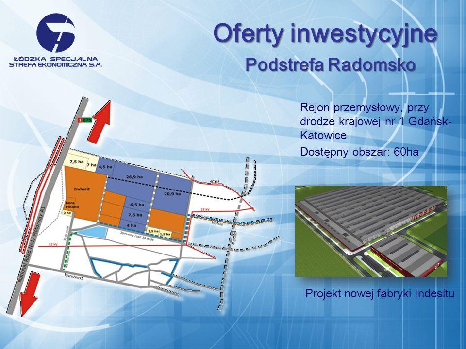 Rejon przemysłowy, przy drodze krajowej nr 1 Gdańsk- Katowice Dostępny obszar: 60ha Projekt nowej fabryki Indesitu Oferty inwestycyjne Podstrefa Radomsko