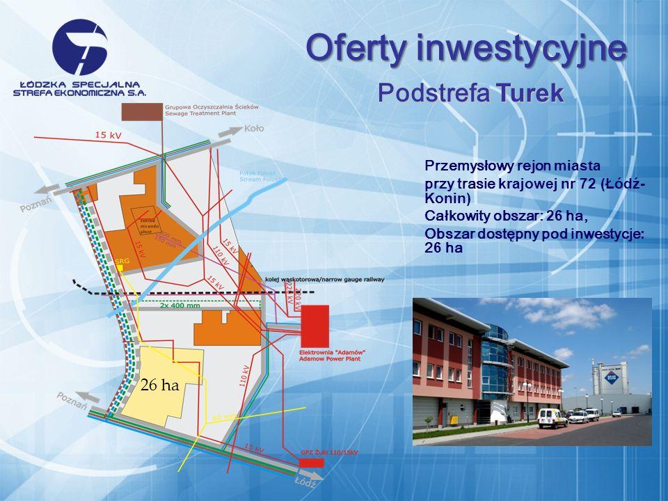 Przemysłowy rejon miasta przy trasie krajowej nr 72 (Łódź- Konin) Całkowity obszar: 26 ha, Obszar dostępny pod inwestycje : 2 6 ha Oferty inwestycyjne Podstrefa Turek 26 ha