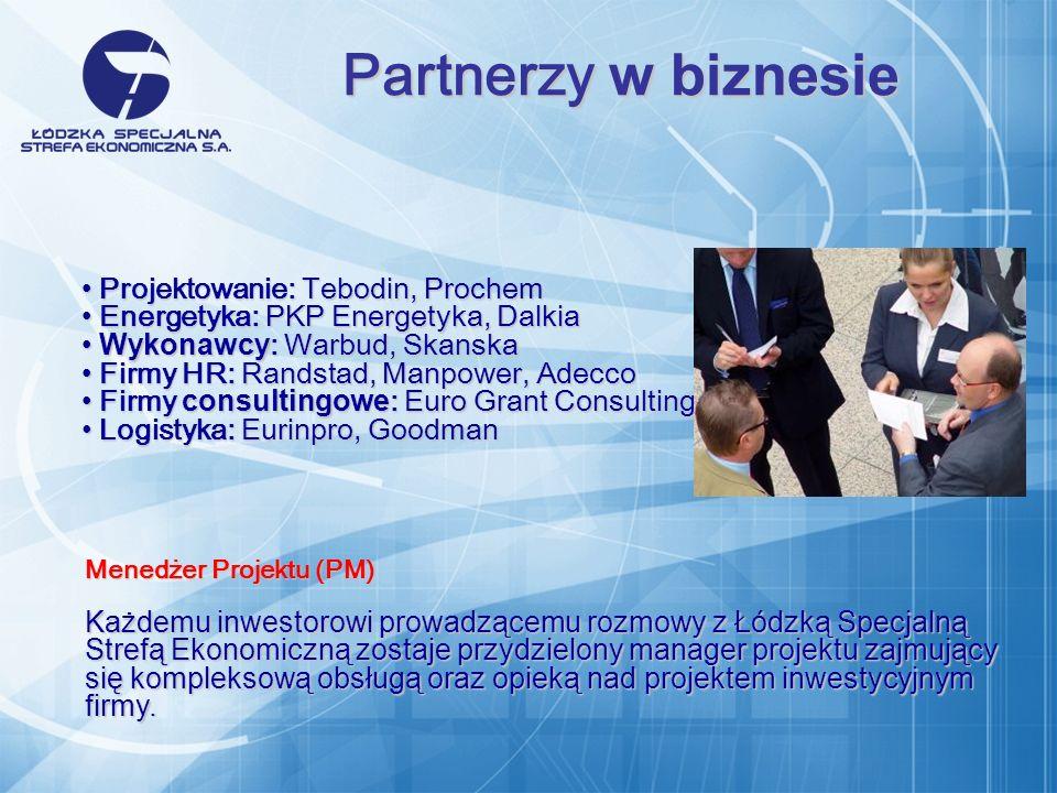 Projektowanie: Tebodin, Prochem Projektowanie: Tebodin, Prochem Energetyka: PKP Energetyka, Dalkia Energetyka: PKP Energetyka, Dalkia Wykonawcy : Warbud, Skanska Wykonawcy : Warbud, Skanska Firmy HR: Randstad, Manpower, Adecco Firmy HR: Randstad, Manpower, Adecco Firmy consultingowe : Euro Grant Consulting Firmy consultingowe : Euro Grant Consulting Logistyka: Eurinpro, Goodman Logistyka: Eurinpro, Goodman Partnerzy w biznesie Menedżer Projektu (PM) Każdemu inwestorowi prowadzącemu rozmowy z Łódzką Specjalną Strefą Ekonomiczną zostaje przydzielony manager projektu zajmujący się kompleksową obsługą oraz opieką nad projektem inwestycyjnym firmy.