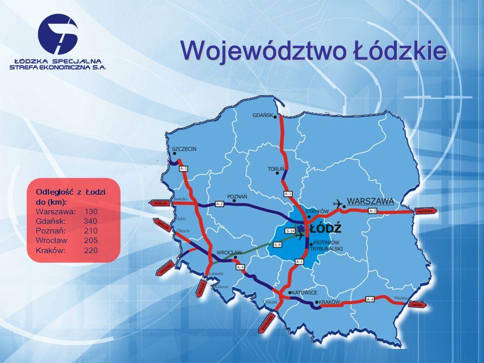 Odległość z Łodzi do (km): Warszawa:130 Gdańsk: 340 Poznań:210 Wrocław205 Kraków:220 Województwo Łódzkie