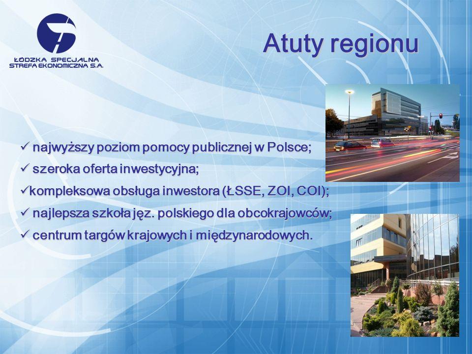 najwyższy poziom pomocy publicznej w Polsce; najwyższy poziom pomocy publicznej w Polsce; szeroka oferta inwestycyjna; szeroka oferta inwestycyjna; kompleksowa obsługa inwestora (ŁSSE, ZOI, COI); kompleksowa obsługa inwestora (ŁSSE, ZOI, COI); najlepsza szkoła jęz.