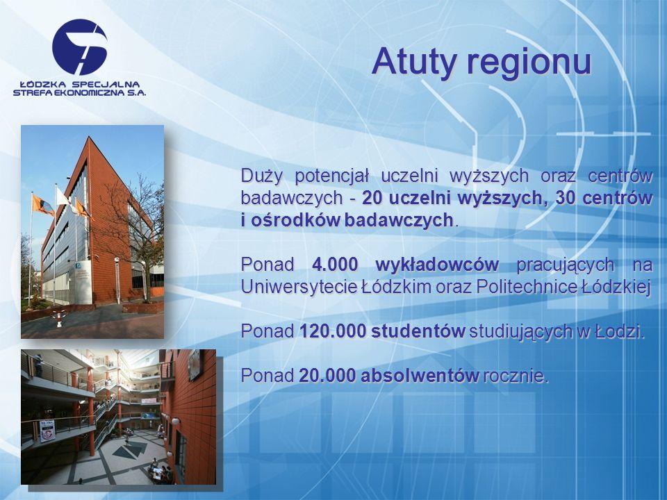 Duży potencjał uczelni wyższych oraz centrów badawczych - 20 uczelni wyższych, 30 centrów i ośrodków badawczych.