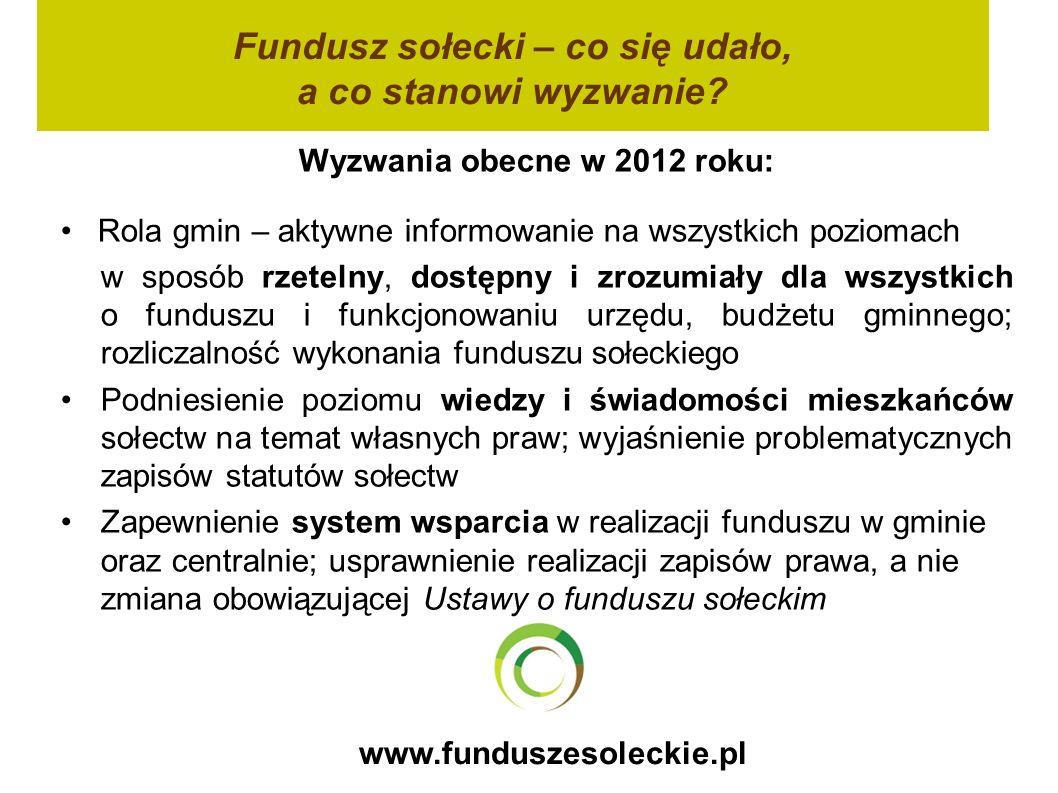 www.funduszesoleckie.pl Wyzwania obecne w 2012 roku: Rola gmin – aktywne informowanie na wszystkich poziomach w sposób rzetelny, dostępny i zrozumiały dla wszystkich o funduszu i funkcjonowaniu urzędu, budżetu gminnego; rozliczalność wykonania funduszu sołeckiego Podniesienie poziomu wiedzy i świadomości mieszkańców sołectw na temat własnych praw; wyjaśnienie problematycznych zapisów statutów sołectw Zapewnienie system wsparcia w realizacji funduszu w gminie oraz centralnie; usprawnienie realizacji zapisów prawa, a nie zmiana obowiązującej Ustawy o funduszu sołeckim Fundusz sołecki – co się udało, a co stanowi wyzwanie