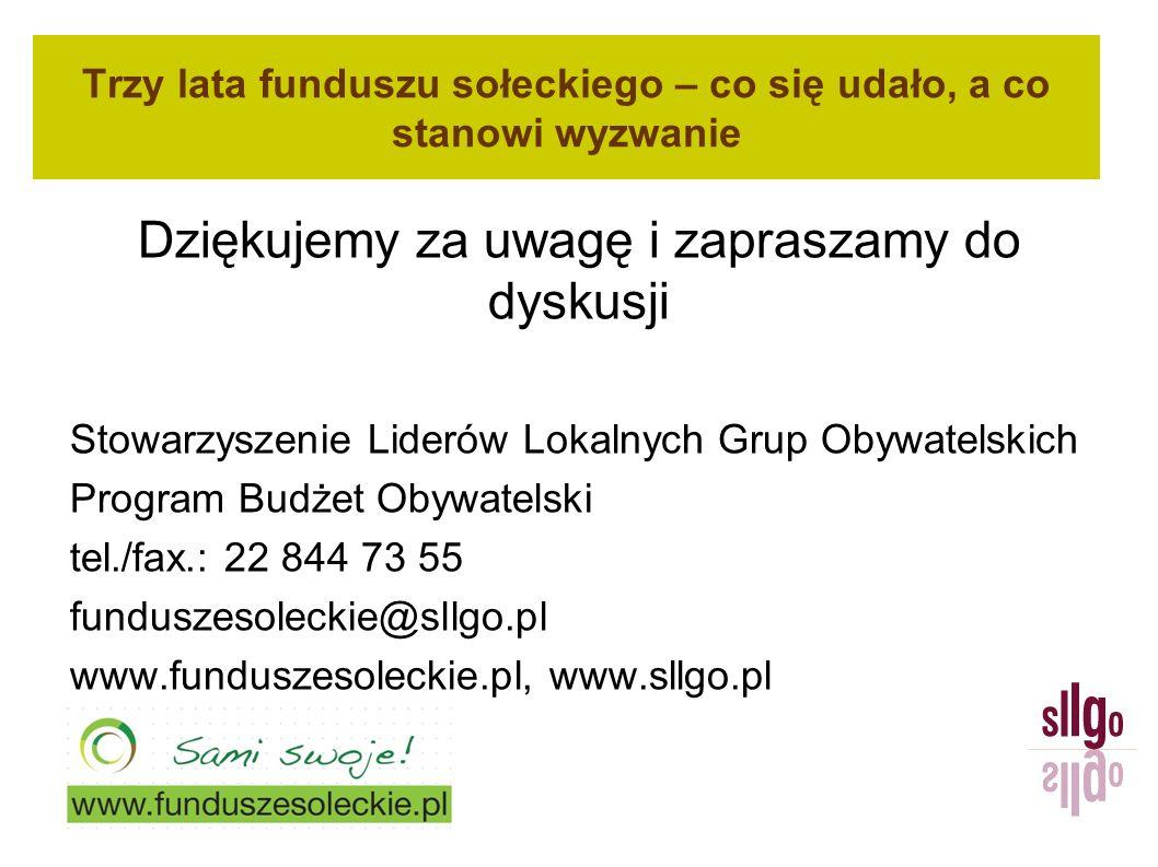 Trzy lata funduszu sołeckiego – co się udało, a co stanowi wyzwanie Dziękujemy za uwagę i zapraszamy do dyskusji Stowarzyszenie Liderów Lokalnych Grup Obywatelskich Program Budżet Obywatelski tel./fax.: 22 844 73 55 funduszesoleckie@sllgo.pl www.funduszesoleckie.pl, www.sllgo.pl