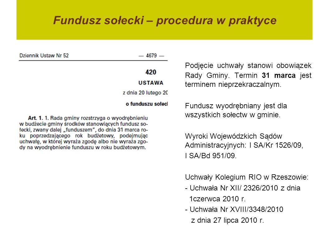 Fundusz sołecki – procedura w praktyce Podjęcie uchwały stanowi obowiązek Rady Gminy.