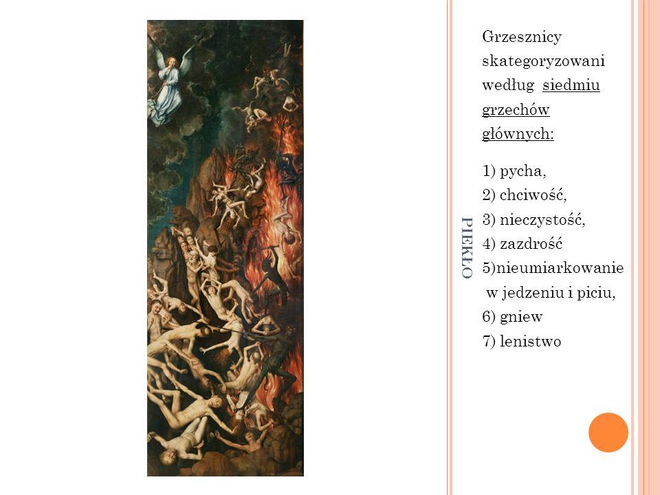 PIEKŁO Grzesznicy skategoryzowani według siedmiu grzechów głównych: 1) pycha, 2) chciwość, 3) nieczystość, 4) zazdrość 5)nieumiarkowanie w jedzeniu i
