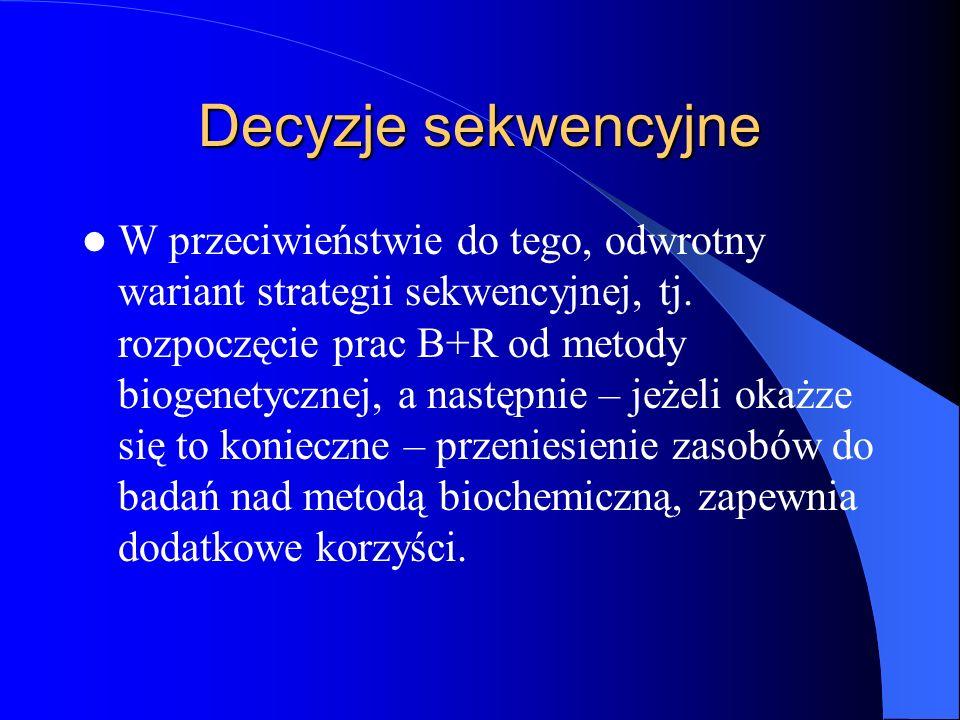 Decyzje sekwencyjne W przeciwieństwie do tego, odwrotny wariant strategii sekwencyjnej, tj. rozpoczęcie prac B+R od metody biogenetycznej, a następnie