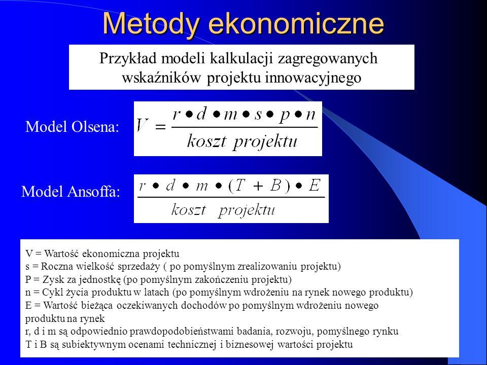 Metody ekonomiczne Przykład modeli kalkulacji zagregowanych wskaźników projektu innowacyjnego Model Olsena: Model Ansoffa: V = Wartość ekonomiczna pro