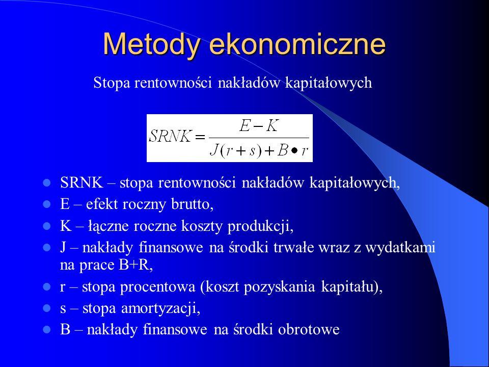 Metody ekonomiczne SRNK – stopa rentowności nakładów kapitałowych, E – efekt roczny brutto, K – łączne roczne koszty produkcji, J – nakłady finansowe