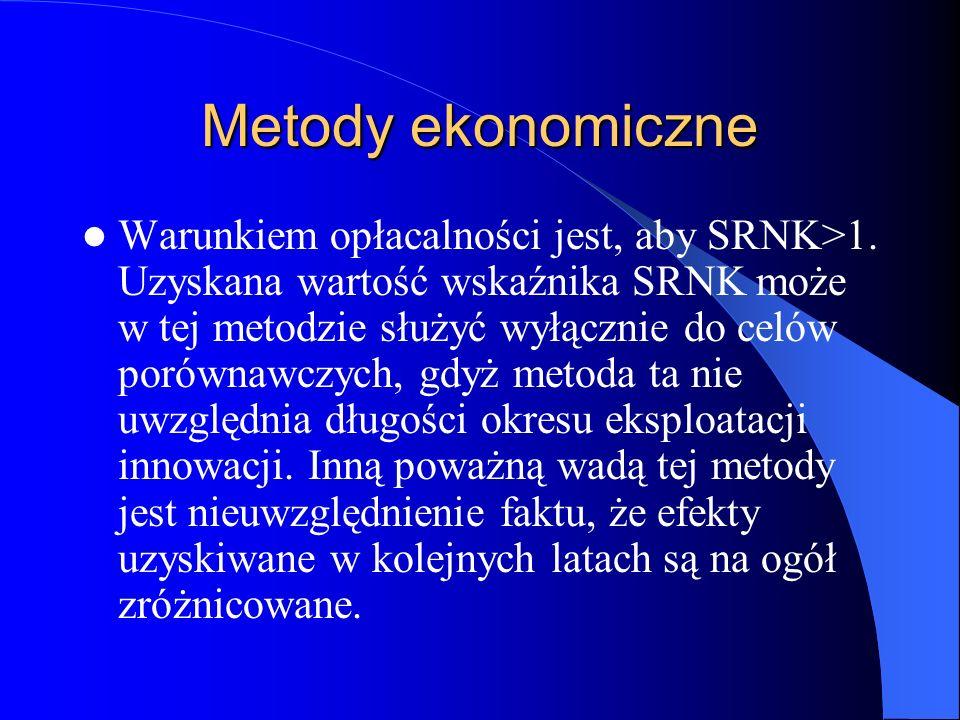 Metody ekonomiczne Warunkiem opłacalności jest, aby SRNK>1. Uzyskana wartość wskaźnika SRNK może w tej metodzie służyć wyłącznie do celów porównawczyc