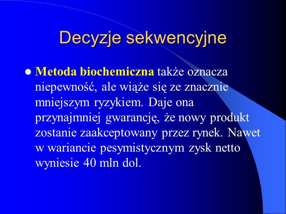 Decyzje sekwencyjne Z czego wynika wyższość wariantu rozpoczęcia programu badań od metody biogenetycznej.