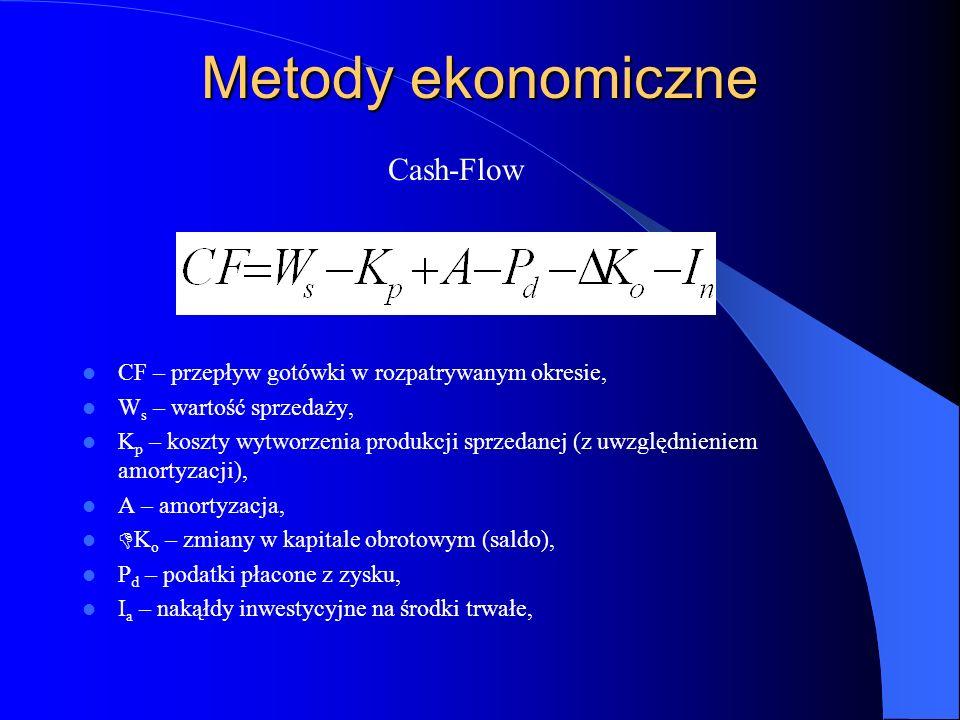Metody ekonomiczne CF – przepływ gotówki w rozpatrywanym okresie, W s – wartość sprzedaży, K p – koszty wytworzenia produkcji sprzedanej (z uwzględnie