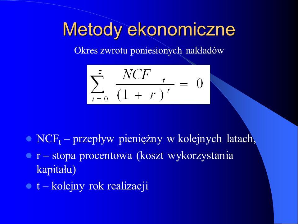 Metody ekonomiczne NCF t – przepływ pieniężny w kolejnych latach, r – stopa procentowa (koszt wykorzystania kapitału) t – kolejny rok realizacji Okres