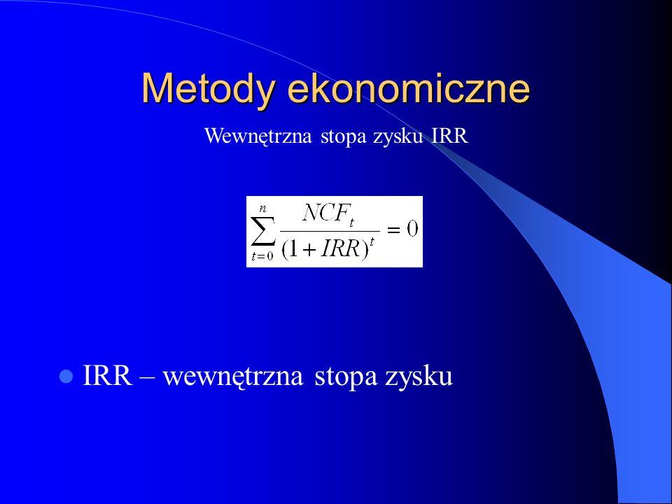 Metody ekonomiczne IRR – wewnętrzna stopa zysku Wewnętrzna stopa zysku IRR