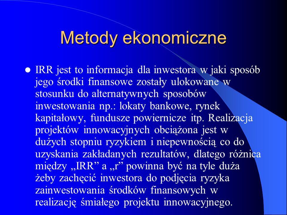 Metody ekonomiczne IRR jest to informacja dla inwestora w jaki sposób jego środki finansowe zostały ulokowane w stosunku do alternatywnych sposobów in