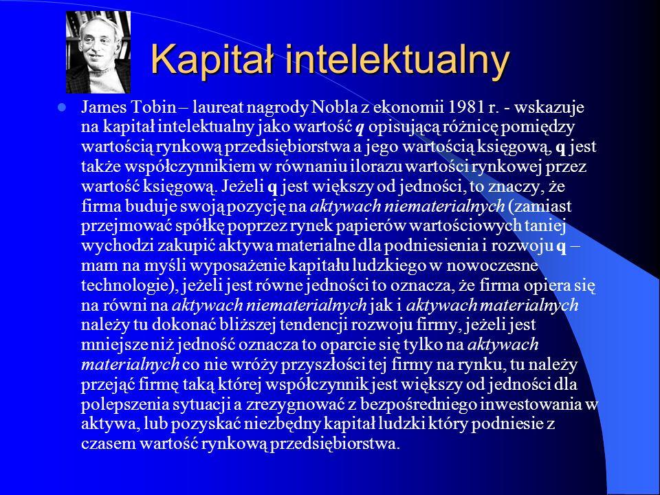 Kapitał intelektualny James Tobin – laureat nagrody Nobla z ekonomii 1981 r. - wskazuje na kapitał intelektualny jako wartość q opisującą różnicę pomi