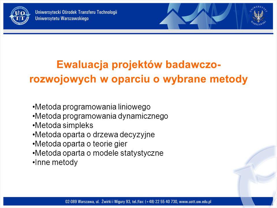 Ewaluacja projektów badawczo- rozwojowych w oparciu o wybrane metody Metoda programowania liniowego Metoda programowania dynamicznego Metoda simpleks