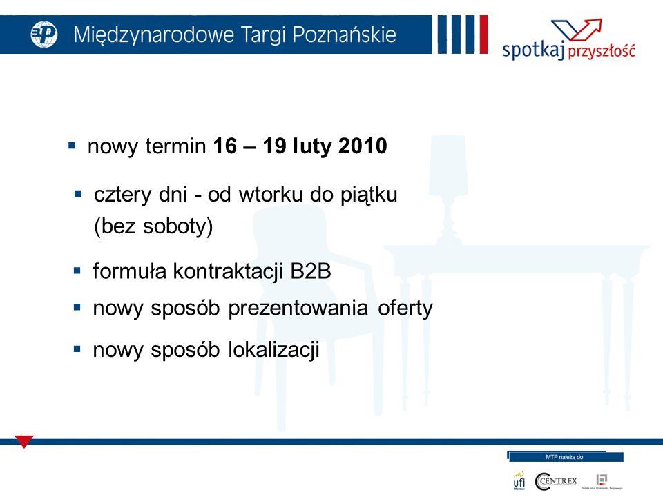 nowy termin 16 – 19 luty 2010 cztery dni - od wtorku do piątku (bez soboty) formuła kontraktacji B2B nowy sposób prezentowania oferty nowy sposób lokalizacji