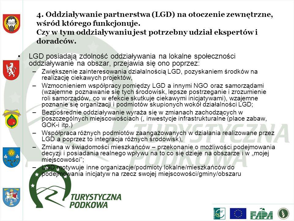 4. Oddziaływanie partnerstwa (LGD) na otoczenie zewnętrzne, wśród którego funkcjonuje. Czy w tym oddziaływaniu jest potrzebny udział ekspertów i dorad