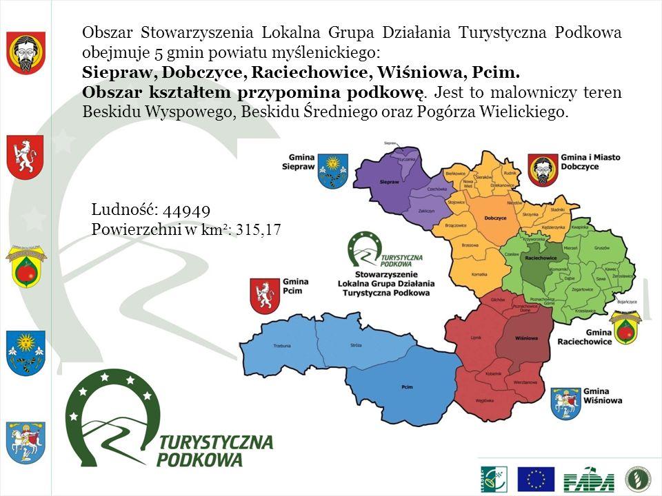 Obszar Stowarzyszenia Lokalna Grupa Działania Turystyczna Podkowa obejmuje 5 gmin powiatu myślenickiego: Siepraw, Dobczyce, Raciechowice, Wiśniowa, Pc