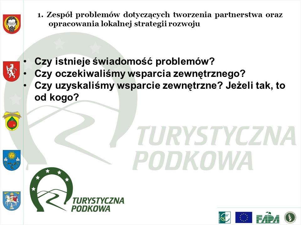 1. Zespół problemów dotyczących tworzenia partnerstwa oraz opracowania lokalnej strategii rozwoju Czy istnieje świadomość problemów? Czy oczekiwaliśmy
