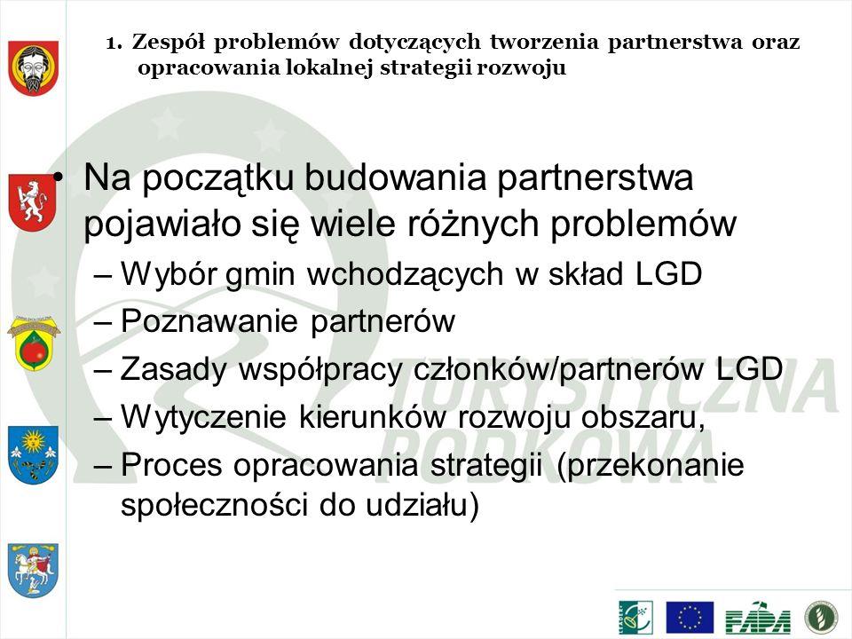 Na początku budowania partnerstwa pojawiało się wiele różnych problemów –Wybór gmin wchodzących w skład LGD –Poznawanie partnerów –Zasady współpracy członków/partnerów LGD –Wytyczenie kierunków rozwoju obszaru, –Proces opracowania strategii (przekonanie społeczności do udziału) 1.