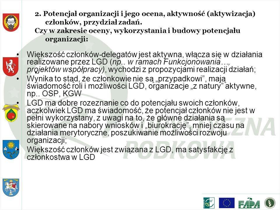 Większość członków-delegatów jest aktywna, włącza się w działania realizowane przez LGD (np.. w ramach Funkcjonowania…, projektów współpracy), wychodz