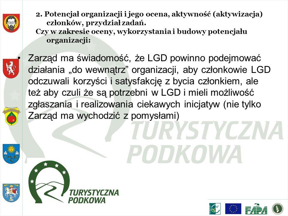 2. Potencjał organizacji i jego ocena, aktywność (aktywizacja) członków, przydział zadań. Czy w zakresie oceny, wykorzystania i budowy potencjału orga