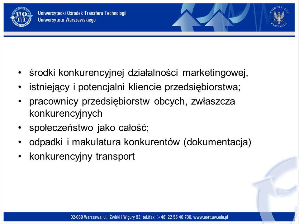 środki konkurencyjnej działalności marketingowej, istniejący i potencjalni kliencie przedsiębiorstwa; pracownicy przedsiębiorstw obcych, zwłaszcza kon