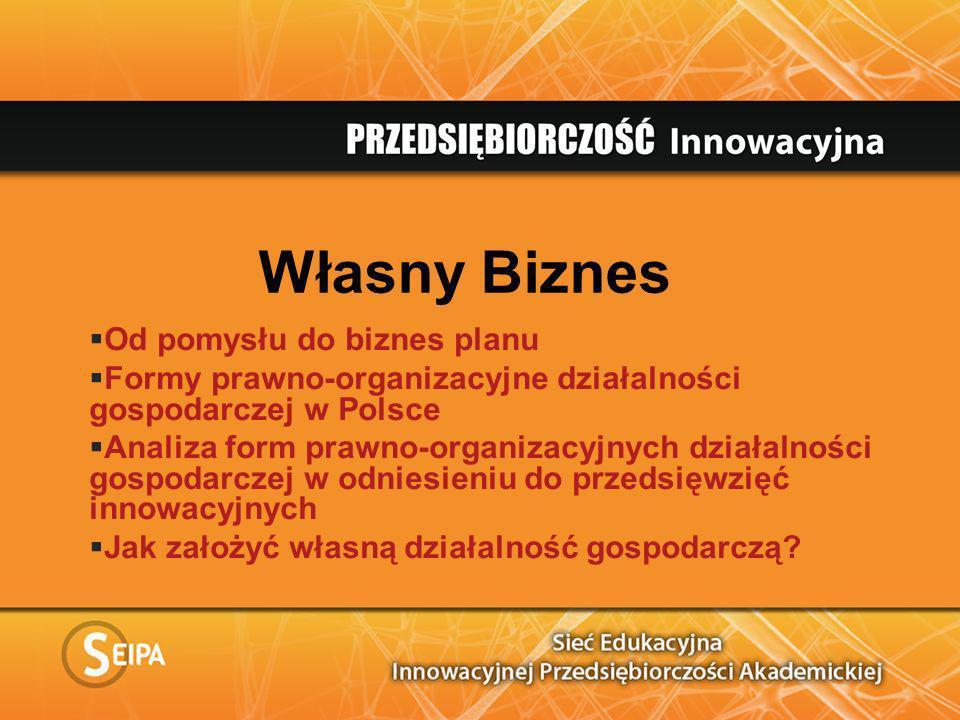 Własny Biznes Od pomysłu do biznes planu Formy prawno-organizacyjne działalności gospodarczej w Polsce Analiza form prawno-organizacyjnych działalnośc
