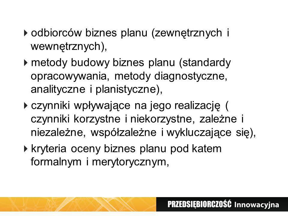 odbiorców biznes planu (zewnętrznych i wewnętrznych), metody budowy biznes planu (standardy opracowywania, metody diagnostyczne, analityczne i planist