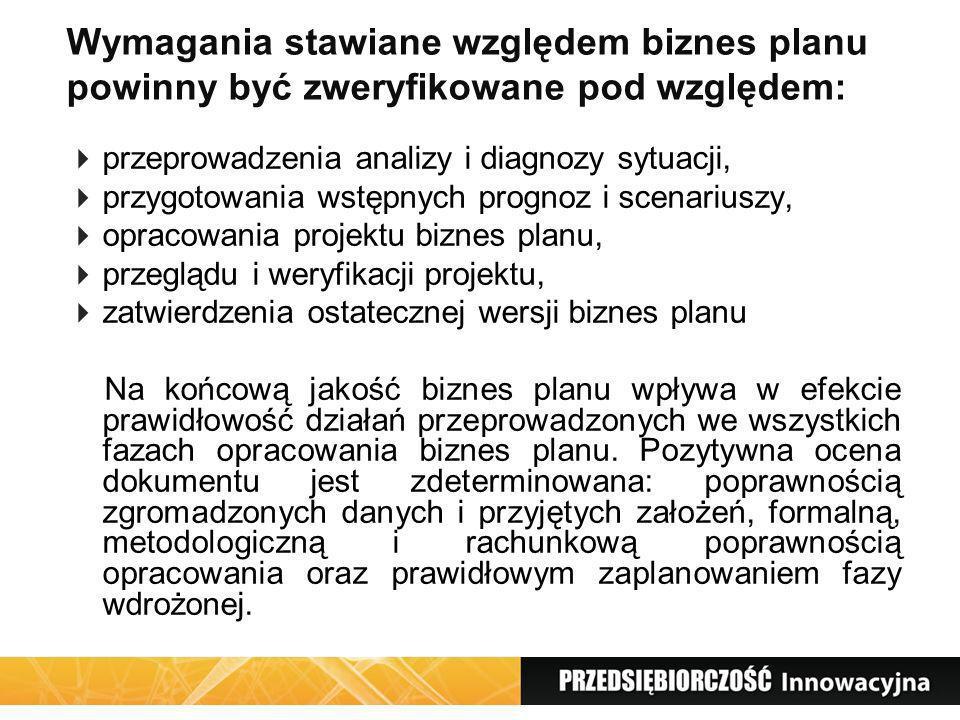 Wymagania stawiane względem biznes planu powinny być zweryfikowane pod względem: przeprowadzenia analizy i diagnozy sytuacji, przygotowania wstępnych