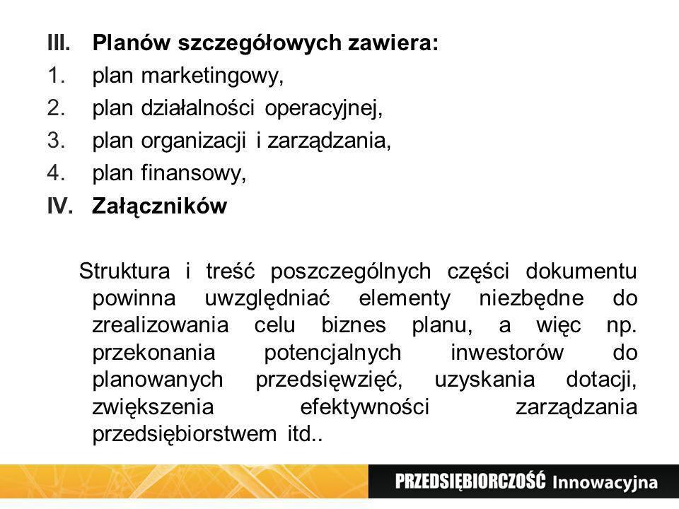 III.Planów szczegółowych zawiera: 1.plan marketingowy, 2.plan działalności operacyjnej, 3.plan organizacji i zarządzania, 4.plan finansowy, IV.Załączn