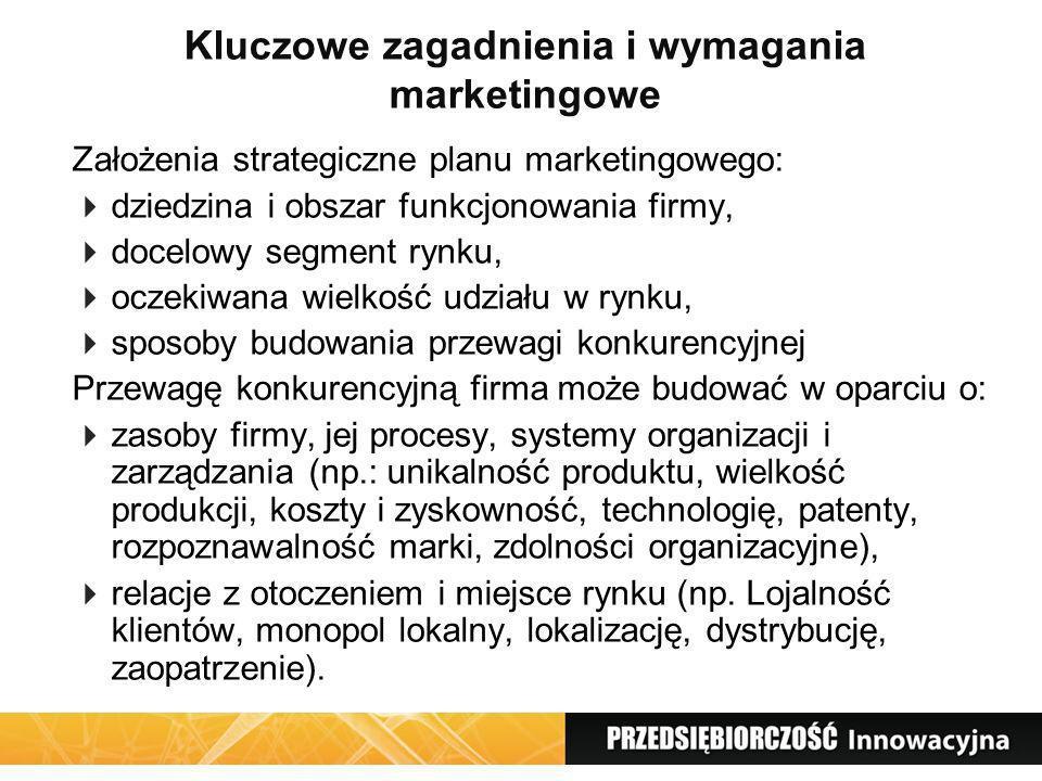 Kluczowe zagadnienia i wymagania marketingowe Założenia strategiczne planu marketingowego: dziedzina i obszar funkcjonowania firmy, docelowy segment r