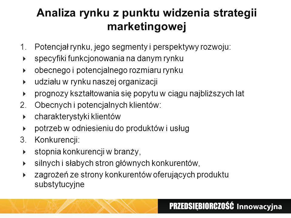 Analiza rynku z punktu widzenia strategii marketingowej 1.Potencjał rynku, jego segmenty i perspektywy rozwoju: specyfiki funkcjonowania na danym rynk