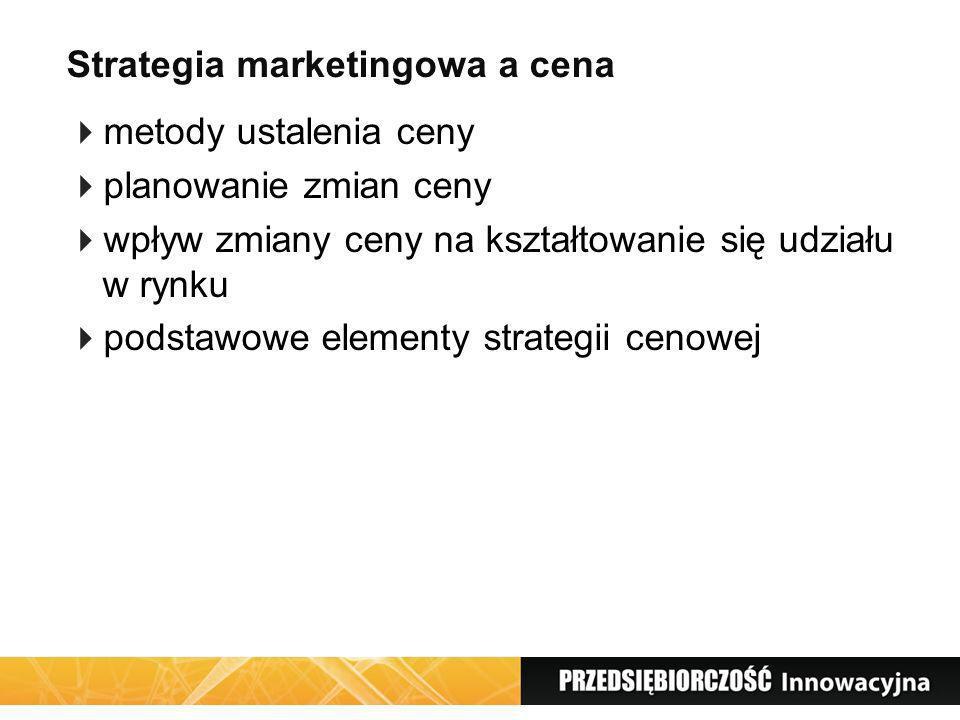 Strategia marketingowa a cena metody ustalenia ceny planowanie zmian ceny wpływ zmiany ceny na kształtowanie się udziału w rynku podstawowe elementy s