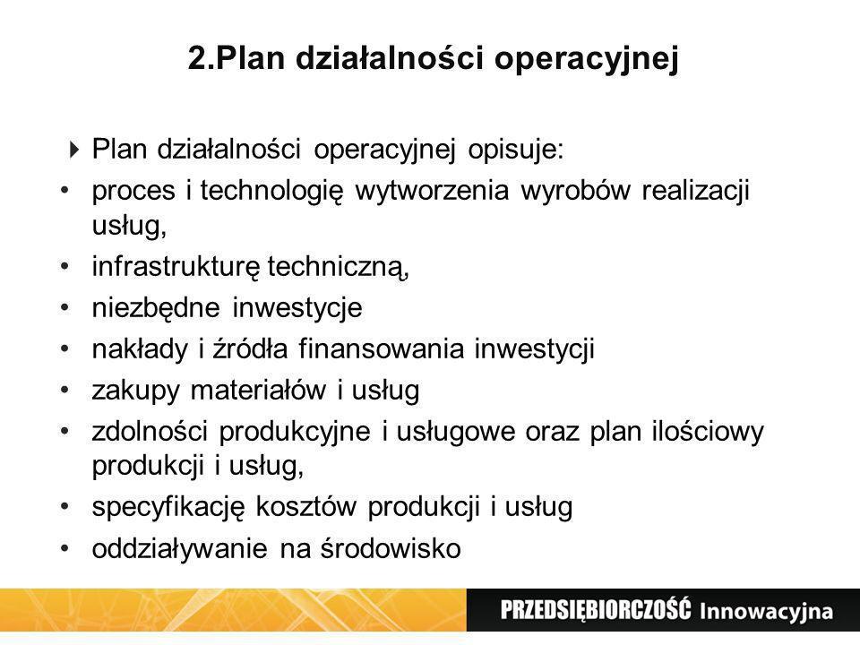 2.Plan działalności operacyjnej Plan działalności operacyjnej opisuje: proces i technologię wytworzenia wyrobów realizacji usług, infrastrukturę techn