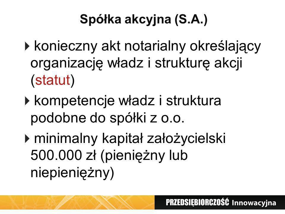 Spółka akcyjna (S.A.) konieczny akt notarialny określający organizację władz i strukturę akcji (statut) kompetencje władz i struktura podobne do spółk