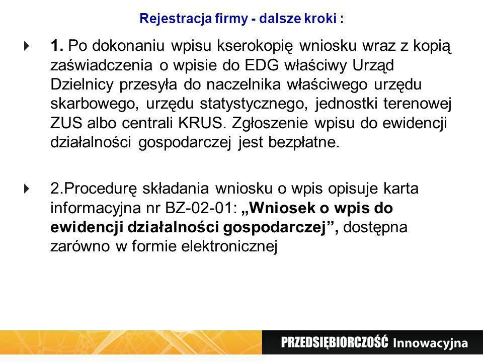 Rejestracja firmy - dalsze kroki : 1. Po dokonaniu wpisu kserokopię wniosku wraz z kopią zaświadczenia o wpisie do EDG właściwy Urząd Dzielnicy przesy
