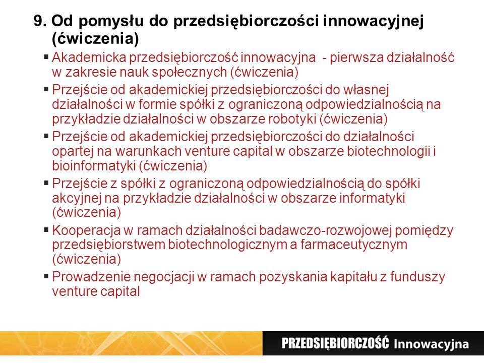 9. Od pomysłu do przedsiębiorczości innowacyjnej (ćwiczenia) Akademicka przedsiębiorczość innowacyjna - pierwsza działalność w zakresie nauk społeczny