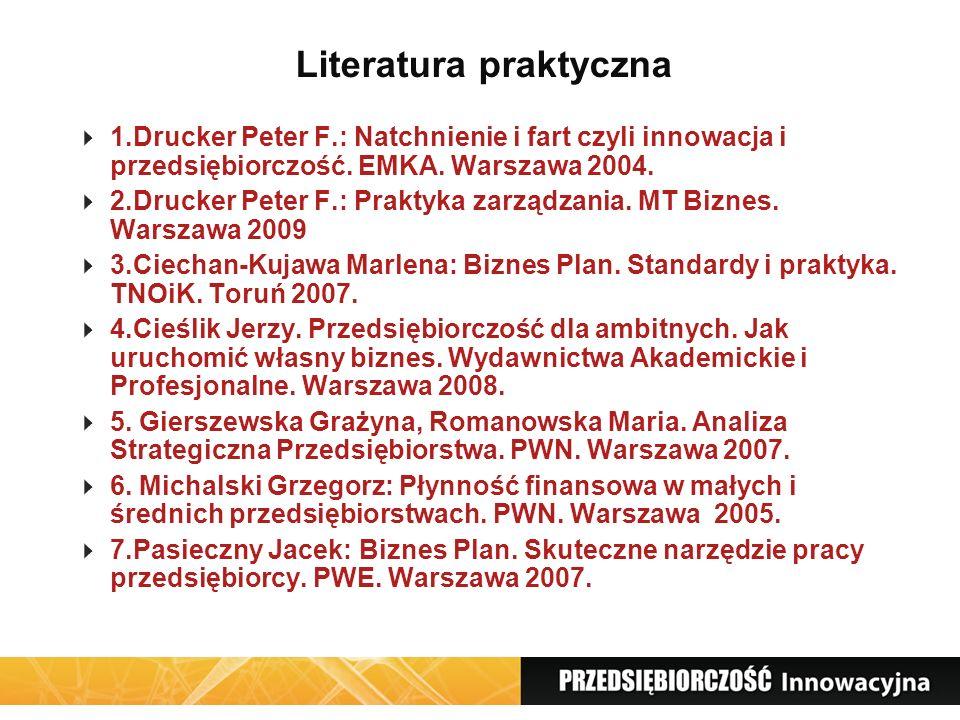 Literatura praktyczna 1.Drucker Peter F.: Natchnienie i fart czyli innowacja i przedsiębiorczość. EMKA. Warszawa 2004. 2.Drucker Peter F.: Praktyka za