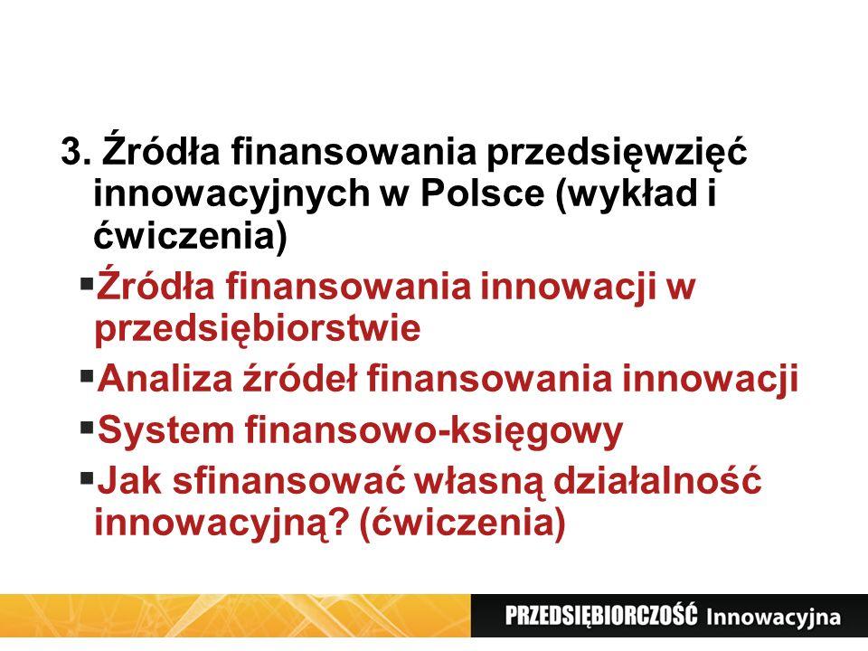 3. Źródła finansowania przedsięwzięć innowacyjnych w Polsce (wykład i ćwiczenia) Źródła finansowania innowacji w przedsiębiorstwie Analiza źródeł fina