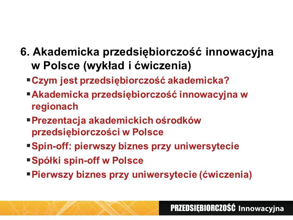 6. Akademicka przedsiębiorczość innowacyjna w Polsce (wykład i ćwiczenia) Czym jest przedsiębiorczość akademicka? Akademicka przedsiębiorczość innowac