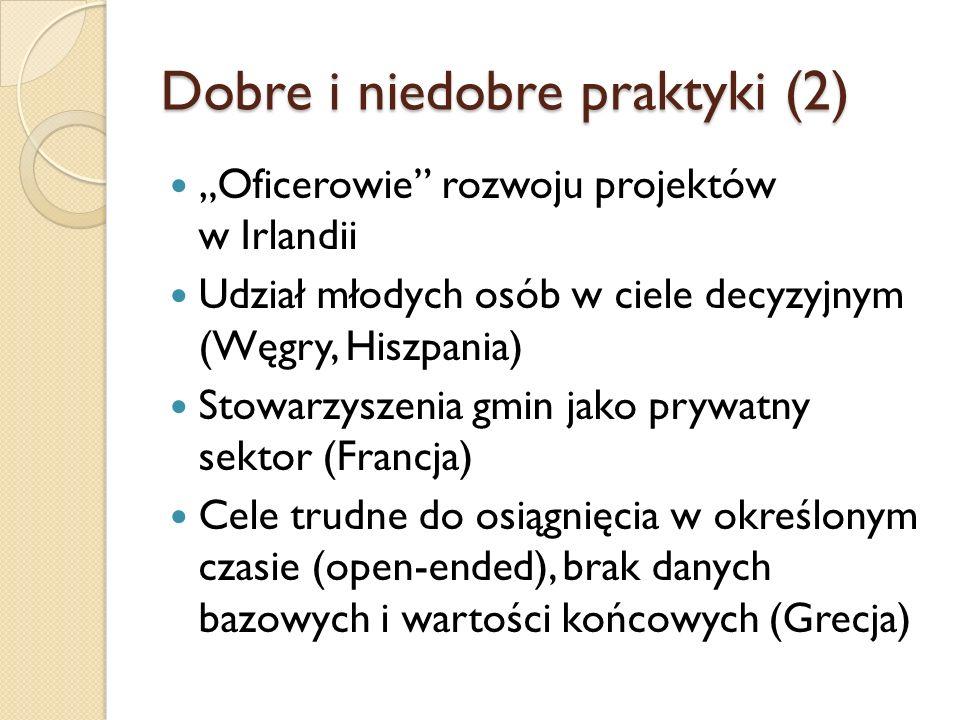 Dobre i niedobre praktyki (2) Oficerowie rozwoju projektów w Irlandii Udział młodych osób w ciele decyzyjnym (Węgry, Hiszpania) Stowarzyszenia gmin ja
